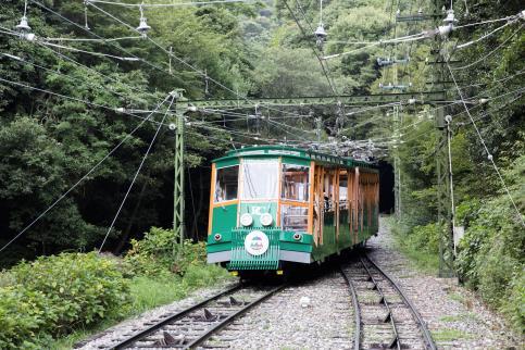 向六甲山森林里行进的六甲缆车。下车后就是(在车站内)