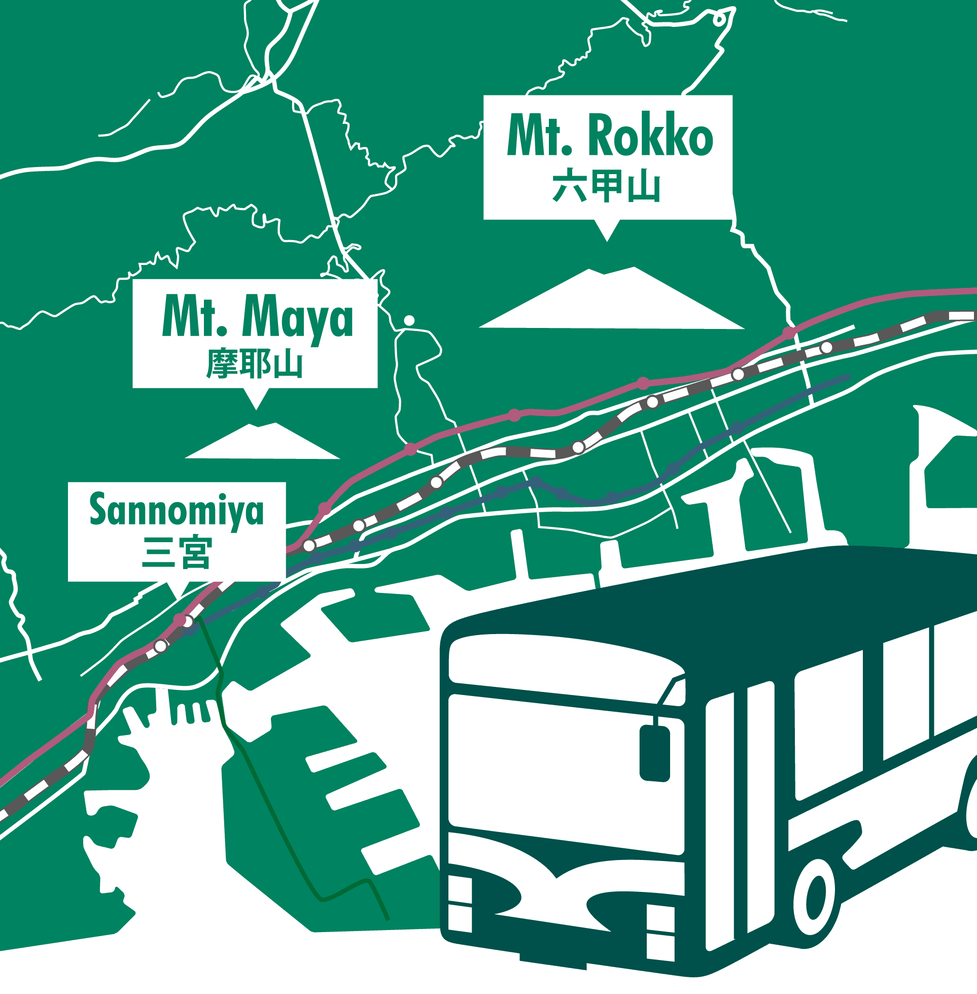 You can easily access Rokko and Maya by bus!