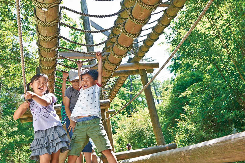 六甲山野外遊樂場 GREENIA,孩子們精神抖擻地玩耍著。
